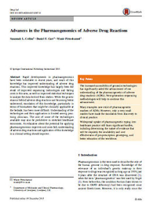 advances in the pharmacogenetics of Adverse Drug Reactions cover