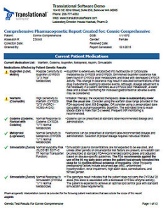 Sample of Comprehensive Pharmacogenetic Report cover